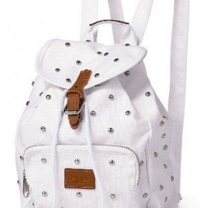 VS PINK MINI White Studded Canvas Backpack